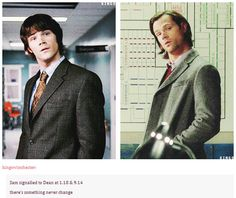 [gifset] Sam 1x18//9x14 ...some things don't change in 9 years :) (well, except the hair ;)