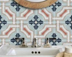 Stickers - tuiles de cuisine/salle de bain arrière splash - Stickers de sol - Traliccio, tuile vinyle autocollant Pack couleur de craie bleue de tuiles