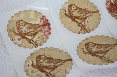 Handmade Vintage Style Bird Envelope Seals by wkburden on Etsy, $4.50