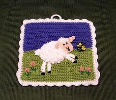 Delights-Gems: Wooly Lamb Potholder~ free pattern