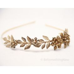 Grecian Brassy Gold Metal Leaf and Flower Headband Gold Wedding... ($55) ❤ liked on Polyvore featuring accessories, hair accessories, headbands & turbans, silver, head wrap headband, gold braided headband, gold tiara, tiara headband and gold flower headband