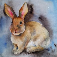 Brun Easter Bunny Original Aquarelle peinture 8 x 8