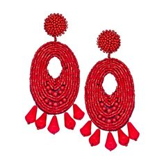 Kenneth Jay Lane Ruby Oval Beaded Chandelier Earrings ($125) ❤ liked on Polyvore