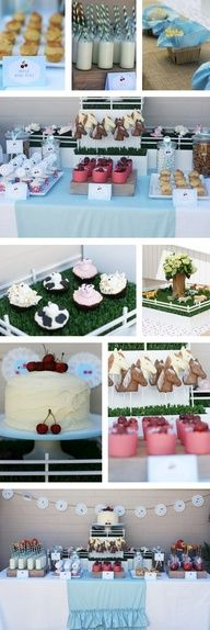 Cute green straws.  Replace the blue runner on the dessert table with burlap or green gingham to go with her grassy cake.