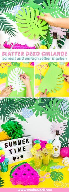 Die schönsten Sommer Party DIY Deko Ideen selber machen: So einfach bastelst du eine Blätter Girlande als kreative Sommerparty Deko selber. So schnell und einfach lassen sich richtig coole Sommer Party DIYs selber machen: Eine lustige DIY Wassermelonen Piñata für jede Menge Spaß bei eurer Sommer Party, eine super einfache Blätter Girlanden DIY Deko und eine richtig süße selbst gemachte Ananas Verzierung für eure Strohhalme.