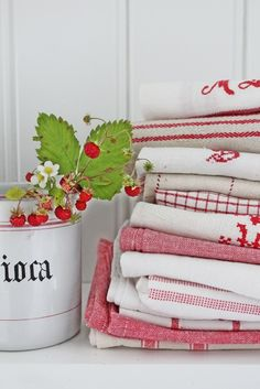 Strawberries and linens.