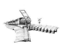 postcard Zipper/locomotive