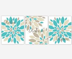 Bathroom Canvas Wall Art Turquoise Brown Relax Refresh Renew Set Of 3 Canvas