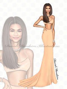 Zendaya in a peach Calvin Klein crop top on the red carpet at the   by David Mandeiro Illustrations. Dress Design Sketches, Fashion Design Sketchbook, Fashion Design Drawings, Fashion Sketches, Fashion Drawing Dresses, Fashion Illustration Dresses, Fashion Illustrations, Drawing Fashion, Fashion Art