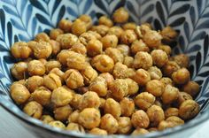 Roasted chickpeas! Toddler friendly! My daughter Charlotte eats them! Low in fat, high in fiber, decent protein, iron, potassium, and a little calcium!