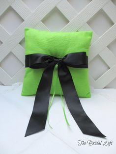 Bright Apple Green and Black Wedding Ring Pillow, Handmade by BridalLoft