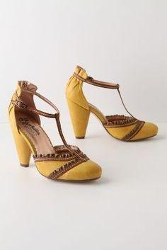976910216b0dd0 NIB Glad Rags T-Strap Heels ANTHROPOLOGIE SZ 7 Seychelles Yellow Shoes