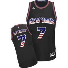 2667b4241 Carmelo Anthony Authentic In Black Adidas NBA New York Knicks USA Flag  Fashion  7 Men s