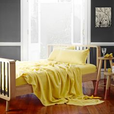 Pure Linen Bed Sheet Set In Maize from Sheets on the Line
