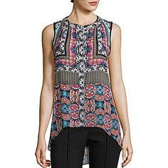 jcp | nicole by Nicole Miller® Sleeveless High-Low Floral Print Top