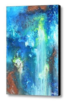 """""""Unlimited"""" Large Giclee PRINT, CANVAS PRINT of Original Blue Abstract Contemporary Urban Painting Modern Abstracts Prints Home Decor Fluid Liquid Paint Effect vertical horizontal blue turquoise brown"""