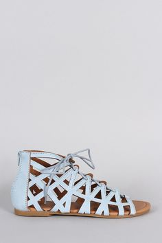 Qupid Caged Lace Up Flat Sandal
