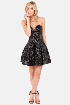 TFNC Halo Strapless Black Sequin Dress at LuLus.com!