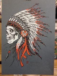 Indian Chief Skull Screenprint (3-color on gunmetal grey paper). $60.00, via Etsy.