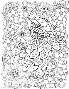 Peacock Coloring Pages, Animal Coloring Pages, Coloring Book Pages, Printable Coloring Pages, Coloring Sheets, Doodle Coloring, Colouring Pics, Mandala Coloring, Coloring Pages For Grown Ups
