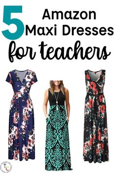 Maxi Dresses for Teachers T Dress, Maxi Dress With Sleeves, Best Maxi Dresses, Dresses For Work, Work Outfits, Teacher Dresses, Teacher Clothes, Teaching Outfits, Stylish Eve