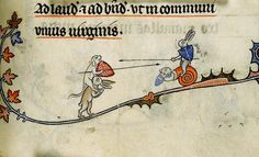 https://flic.kr/p/9RmfZw | Hybrid Snail ridden by Hare, joustinng a Dog and Hare. detail. France c. 1475-1525. Royal E BL