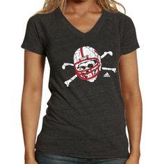 $23.95 at ladyfanatics.com adidas Nebraska Cornhuskers Blackshirts Ladies Sidewinder Tri-Blend V-Neck T-Shirt - Charcoal