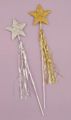 """Customize your Fairy costume with this Silver Glitter Star Wand. This Silver Glitter Star Wand is the perfect accessory for a Fairy costume. This wand features a silver glitter star and silver tinsel ribbons on the handle. The Glitter Star Wand measures approximately 19"""" making it perfect for both adults and children."""