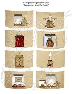 free primitive clip art | Country Primitive Grubby Hang Tags SET 2 ...