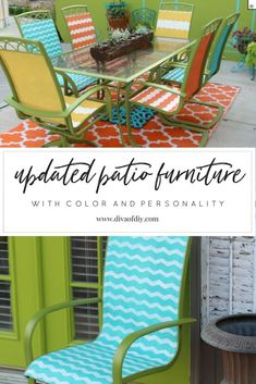 Is your patio furniture tired and worn? Dont throw your set away update it! The perfect outdoor patio idea DIY to upcycle your set with paint! chalk paint - Patio Chair - Ideas of Patio Chair Painting Patio Furniture, Patio Furniture Makeover, Cheap Patio Furniture, Patio Furniture Sets, Furniture Ideas, Small Furniture, Industrial Furniture, Rustic Furniture, Painted Outdoor Furniture