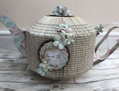 Book folded teapot, used two books to make this, also used Sara signature shabby chic paper collection and country garden floral dies Old Book Crafts, Book Page Crafts, Paper Folding Crafts, Paper Mache Crafts, Recycled Books, Recycled Fabric, Paper Beads Tutorial, Shabby Chic Paper, Diy And Crafts
