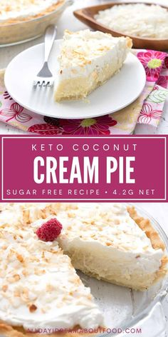This keto coconut cream pie features a creamy rich sugar free custard in a low carb almond flour crust. It's a rich and luscious dessert for coconut lovers! Low Sugar Desserts, Low Carb Deserts, Coconut Desserts, Low Carb Sweets, No Sugar Foods, Diabetic Desserts Sugar Free Low Carb, Ketogenic Desserts, Keto Snacks, Diabetic Snacks