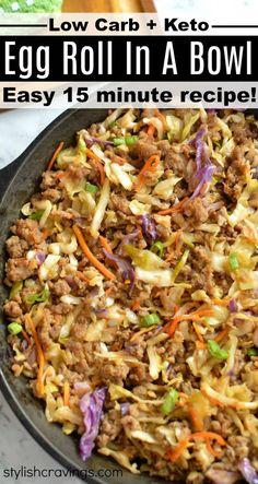 Best Egg Recipes, Best Low Carb Recipes, Asian Recipes, Diet Recipes, Cooking Recipes, Slow Cooker Keto Recipes, Ground Beef Keto Recipes, Ground Chicken Recipes, Egg Roll Recipes