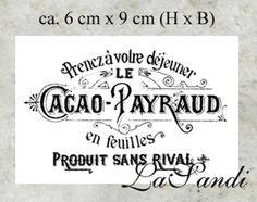 "Aufkleber transparent Vintage ""Cacao Payraud"""