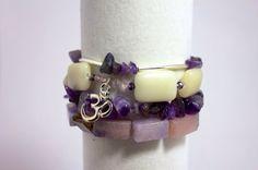 Ohm Bracelet Stack, Yoga Stack: Amethyst, Jade & Swarovski Crystals w/ Sterling Silver accents. Set of 4 bracelets. Free Shipping (US only).