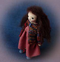 Your place to buy and sell all things handmade Mohair Yarn, Wool Yarn, Dark Hair, Brown Hair, Felt Doll House, Felt Shoes, Dark Brown Eyes, Waldorf Dolls, Dollhouse Dolls