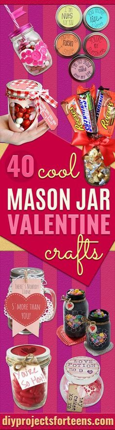 Best Mason Jar Valentine Crafts -Cute Mason Jar Valentines Day Gifts and Crafts | Easy DIY Ideas for Valentines Day for Homemade Gift Giving and Room Decor | Creative Home Decor and Craft Projects for Teens, Teenagers, Kids and Adults http://diyprojectsforteens.com/mason-jar-valentine-crafts #DIYHomeDecorCreative