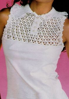 Add Crochet to a Collar T'shirt Crochet Yoke, Crochet Fabric, Crochet Shirt, Crochet Collar, Crochet Jacket, Diy Crochet, Irish Crochet, Vintage Crochet, Crochet Stitches