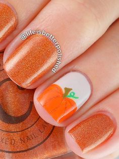 The matching glittery orange polish rounds out this fall-ready mani. Get the easy step-by-step tutorial to creating small pumpkins.