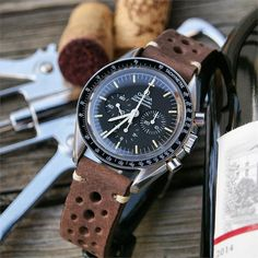 BandRBands Classic Vintage Leather Watch Strap On Omega Speedmaster