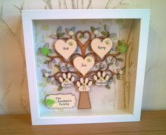 FAMILY TREE FRAME  Handmade Personalised Box Frame. Can be