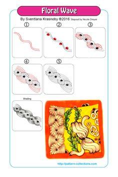 A few more favorite Zentangle Tangles Dibujos Zentangle Art, Zentangle Drawings, Doodles Zentangles, Doodle Drawings, Doodle Art, Zen Doodle Patterns, Mandala Pattern, Zentangle Patterns, Wave Pattern