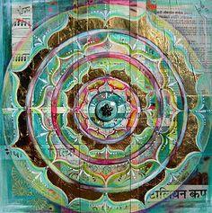 Mixed Media Meditation MandalaHeart Chakra by funkyfrocksmama, $35.00