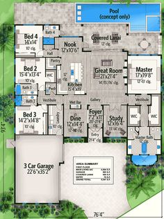 Spacious Florida House Plan Floor Master Suite Butler Walkin Pantry CAD Available DenOfficeLibraryStudy Florida PDF Southern Split Bedrooms Architectural D. House Plans One Story, New House Plans, Dream House Plans, Story House, House Floor Plans, My Dream Home, 4000 Sq Ft House Plans, Four Bedroom House Plans, The Plan