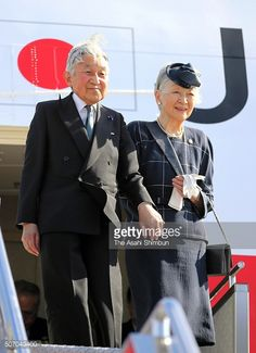 Emperor Akihito and Empress Michiko are seen on arrival at the Ninoy Aquino International Airport on January 26, 2016 in Manila Philippines.