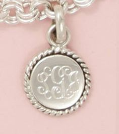 Personalized sterling silver round braided charm pendant
