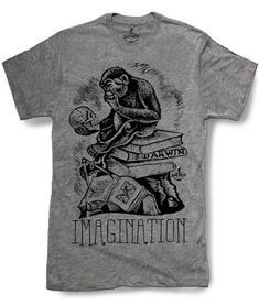 2b7cd15a1 DARWIN MONKEY Ape Mens t shirt Evolution of Man Imagination Science  Humanities Medical Theme Biology - sizes sm med lg xl xxl