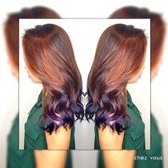 Purple Dipdye X Ash Brown Balayage ombre