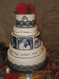 Romantic red and black wedding cake