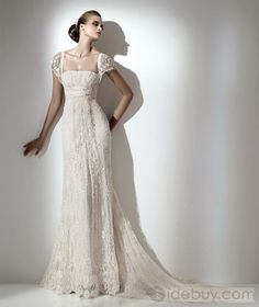 Gorgeous Sheath/Column Square Short Sleeves Floor-length Court Lace Wedding Dress WL-0101